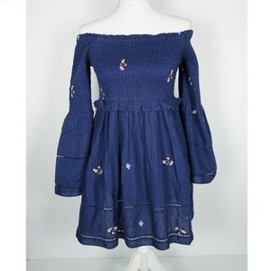 Free People Dress Blue Counting Daisies